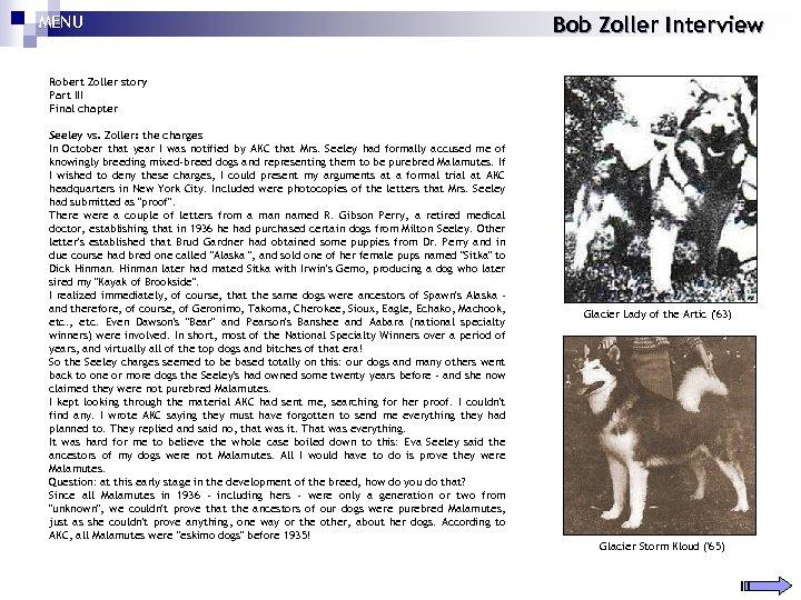 MENU Bob Zoller Interview Robert Zoller story Part III Final chapter Seeley vs. Zoller: