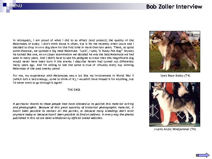 MENU Bob Zoller Interview In retrospect, I am proud of what I did to