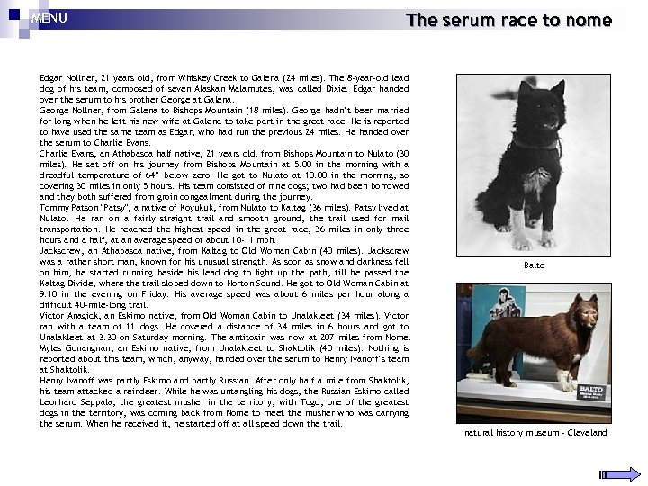 MENU The serum race to nome Edgar Nollner, 21 years old, from Whiskey Creek