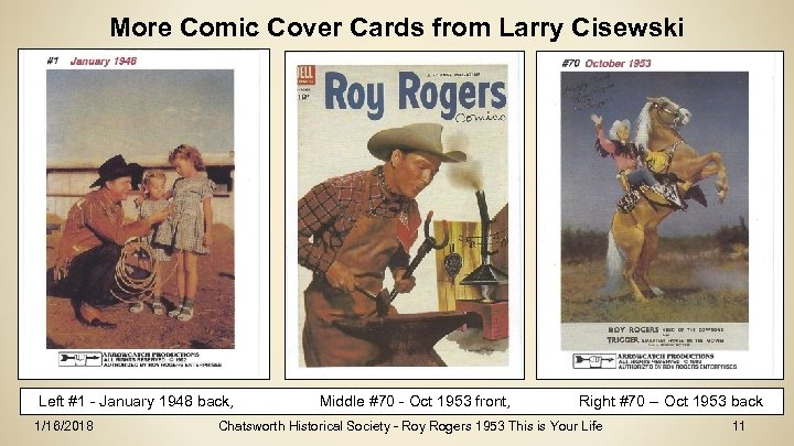 More Comic Cover Cards from Larry Cisewski Left #1 - January 1948 back, 1/16/2018