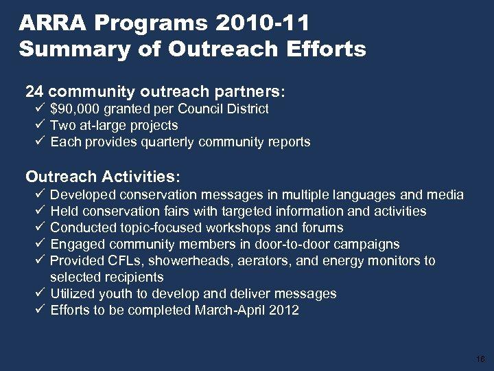 ARRA Programs 2010 -11 Summary of Outreach Efforts 24 community outreach partners: ü $90,