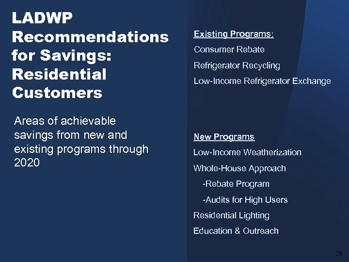 LADWP Recommendations for Savings: Residential Customers Areas of achievable savings from new and existing