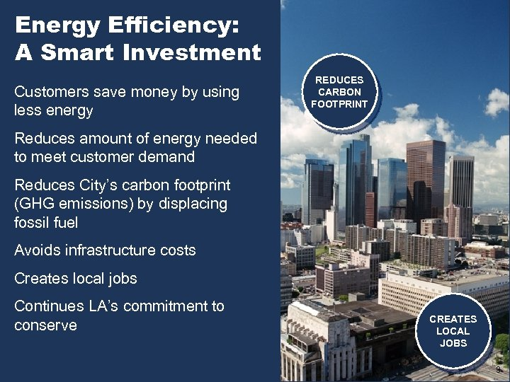 Energy Efficiency: A Smart Investment Customers save money by using less energy REDUCES CARBON