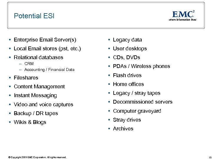 Potential ESI Enterprise Email Server(s) Legacy data Local Email stores (pst, etc. ) User