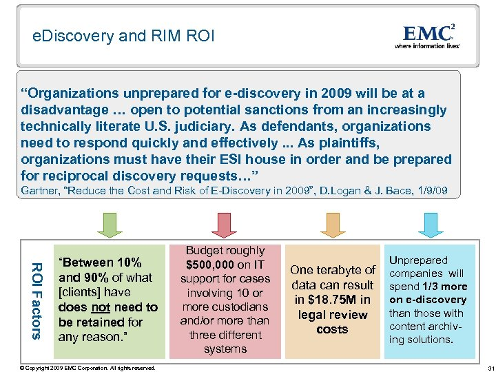 "e. Discovery and RIM ROI ""Organizations unprepared for e-discovery in 2009 will be at"