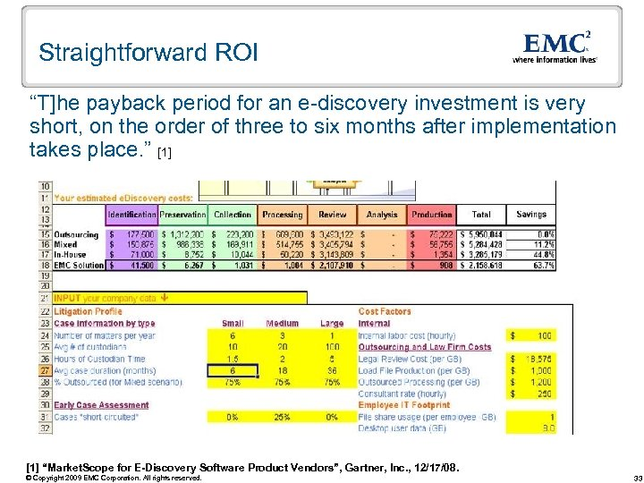 "Straightforward ROI ""T]he payback period for an e-discovery investment is very short, on the"