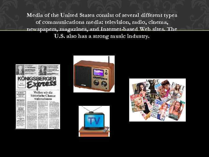 Media of the United States consist of several different types of communications media: television,