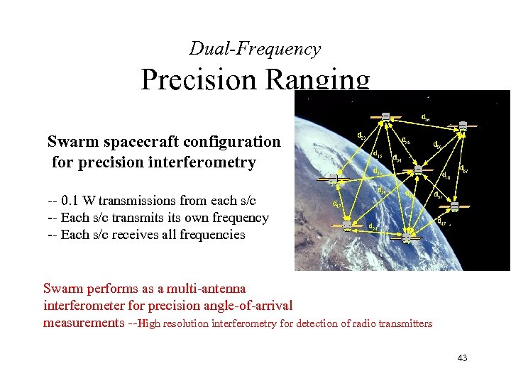 Dual-Frequency Precision Ranging Swarm spacecraft configuration for precision interferometry -- 0. 1 W transmissions