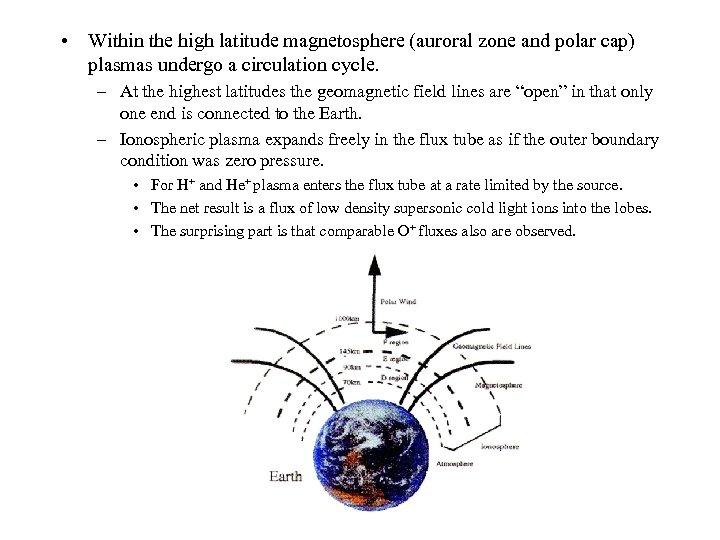 • Within the high latitude magnetosphere (auroral zone and polar cap) plasmas undergo