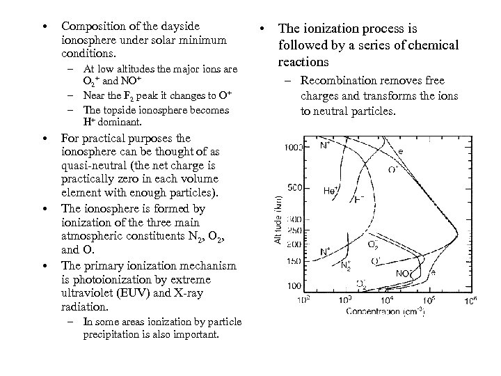 • Composition of the dayside ionosphere under solar minimum conditions. – At low