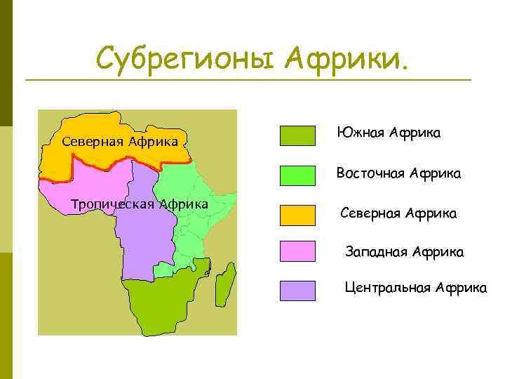 Субрегионы Африки. Северная Африка Южная Африка Восточная Африка Тропическая Африка Северная Африка Западная Африка
