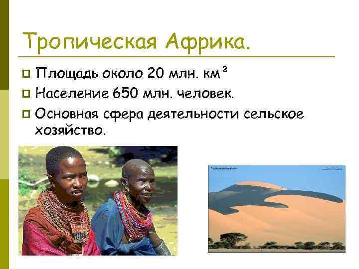 Тропическая Африка. Площадь около 20 млн. км² p Население 650 млн. человек. p Основная