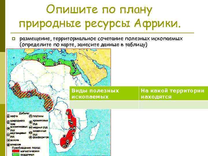 Опишите по плану природные ресурсы Африки. p размещение, территориальное сочетание полезных ископаемых (определите по