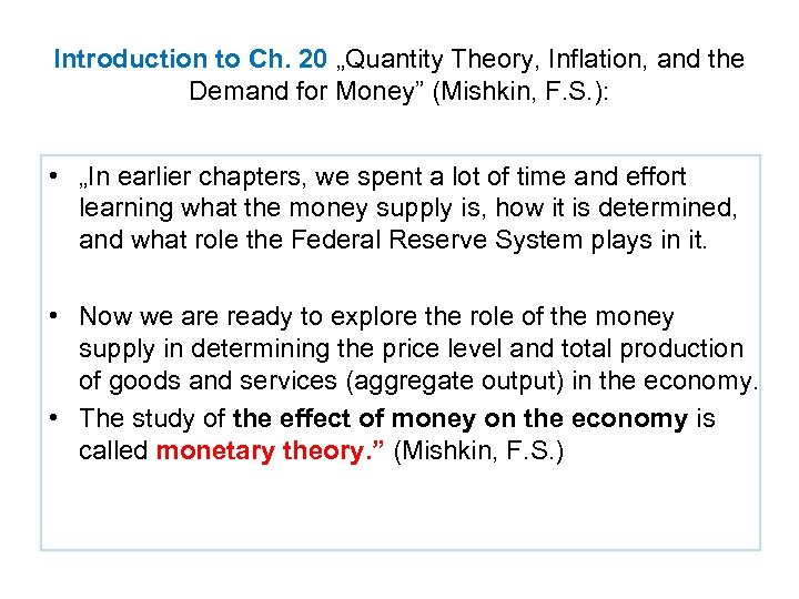 """Introduction to Ch. 20 """"Quantity Theory, Inflation, and the Demand for Money"""" (Mishkin, F."""