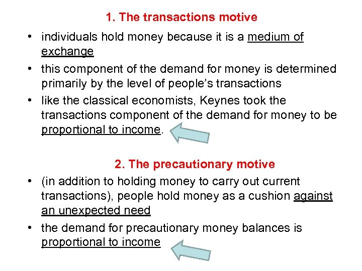 1. The transactions motive • individuals hold money because it is a medium of