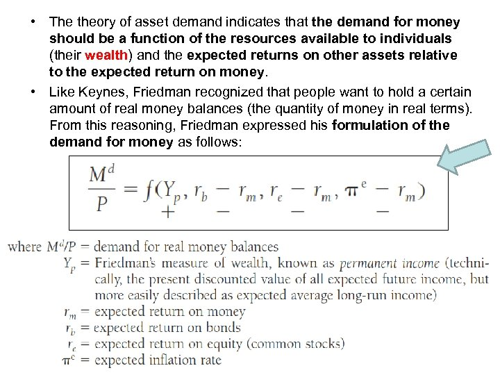 • The theory of asset demand indicates that the demand for money should