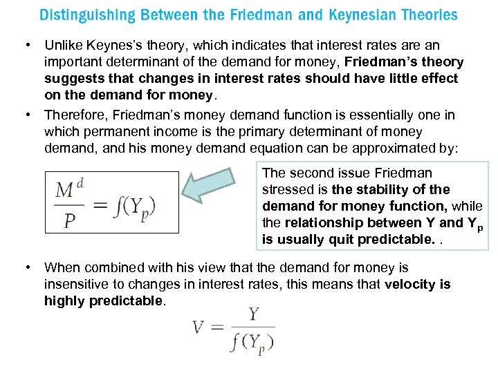 • Unlike Keynes's theory, which indicates that interest rates are an important determinant