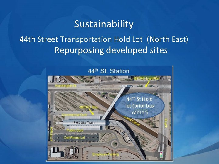 Sustainability 44 th Street Transportation Hold Lot (North East) Repurposing developed sites 44 th