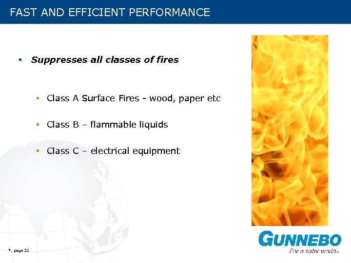 FAST AND EFFICIENT PERFORMANCE § Suppresses all classes of fires § Class A Surface