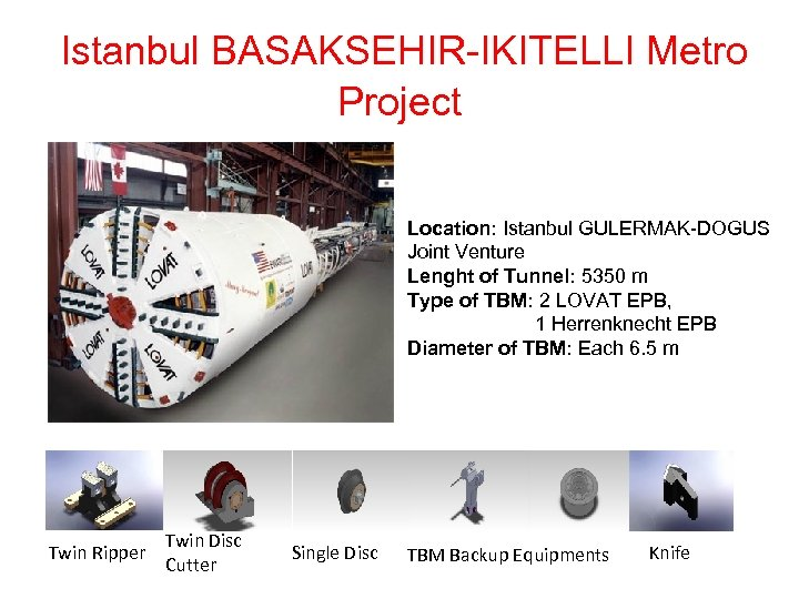 Istanbul BASAKSEHIR-IKITELLI Metro Project Location: Istanbul GULERMAK-DOGUS Joint Venture Lenght of Tunnel: 5350 m
