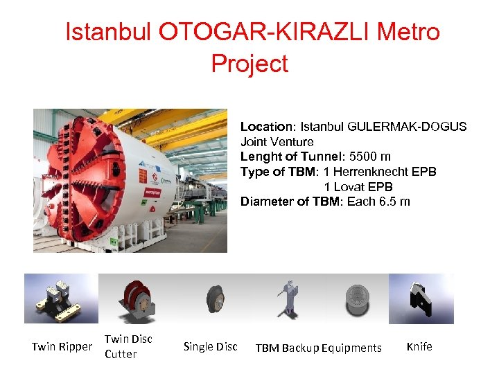 Istanbul OTOGAR-KIRAZLI Metro Project Location: Istanbul GULERMAK-DOGUS Joint Venture Lenght of Tunnel: 5500 m