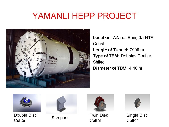 YAMANLI HEPP PROJECT Location: Adana, Enerji. Sa-NTF Const. Lenght of Tunnel: 7900 m Type