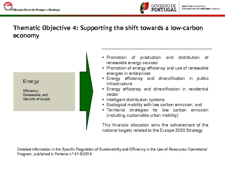 Thematic Objective 4: Supporting the shift towards a low-carbon economy Energy Efficiency; Renewable; and