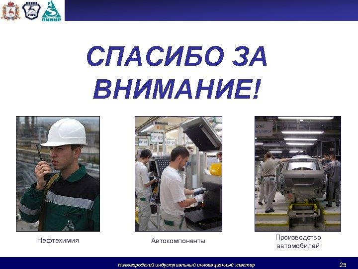 СПАСИБО ЗА ВНИМАНИЕ! Нефтехимия Автокомпоненты Нижегородский индустриальный инновационный кластер Производство автомобилей 25