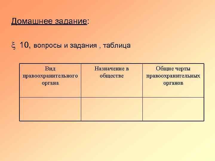 Домашнее задание: x 10, вопросы и задания , таблица Вид правоохранительного органа Назначение в