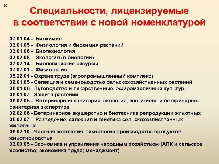 20 Специальности, лицензируемые в соответствии с новой номенклатурой 03. 01. 04 - Биохимия 03.