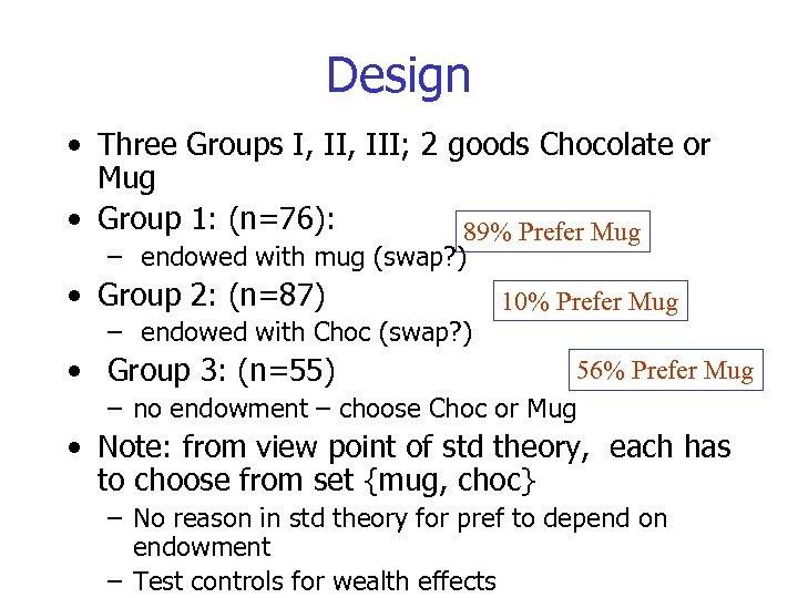 Design • Three Groups I, III; 2 goods Chocolate or Mug • Group 1: