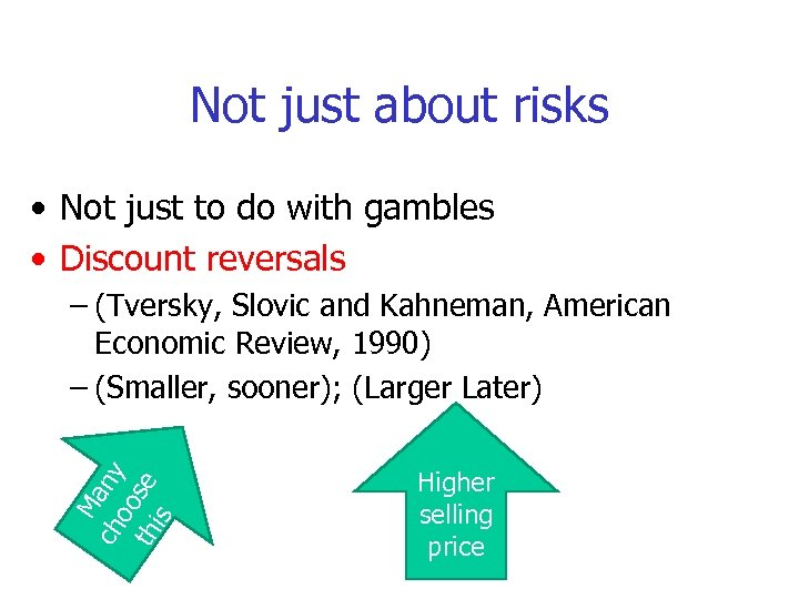 Not just about risks • Not just to do with gambles • Discount reversals