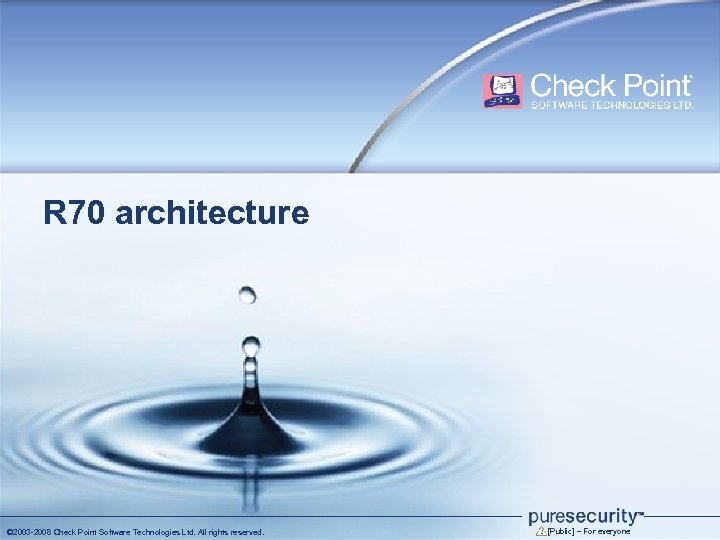 R 70 architecture © 2003 -2008 Check Point Software Technologies Ltd. All rights reserved.