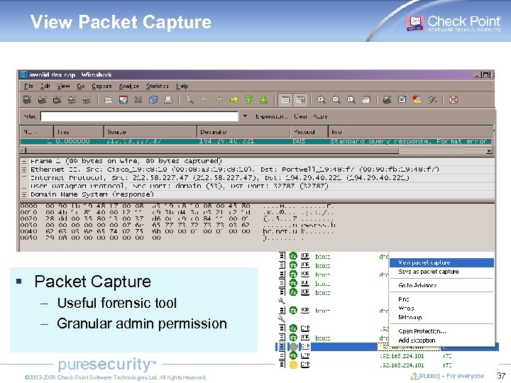 View Packet Capture § Packet Capture – Useful forensic tool – Granular admin permission