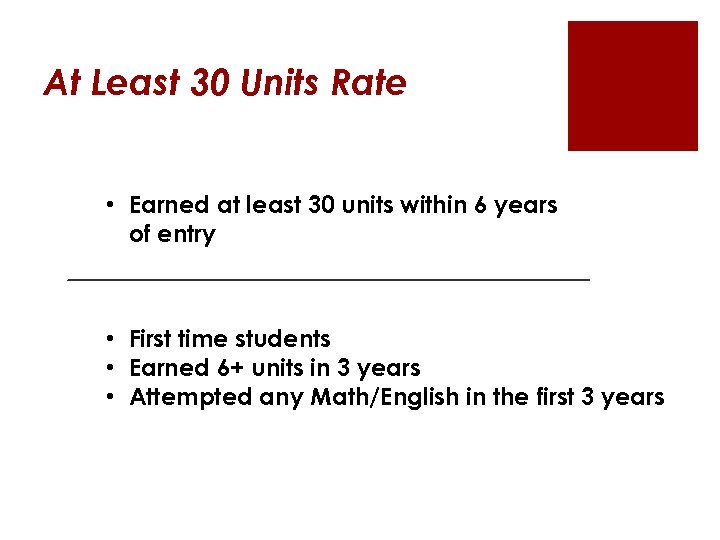 At Least 30 Units Rate • Earned at least 30 units within 6 years