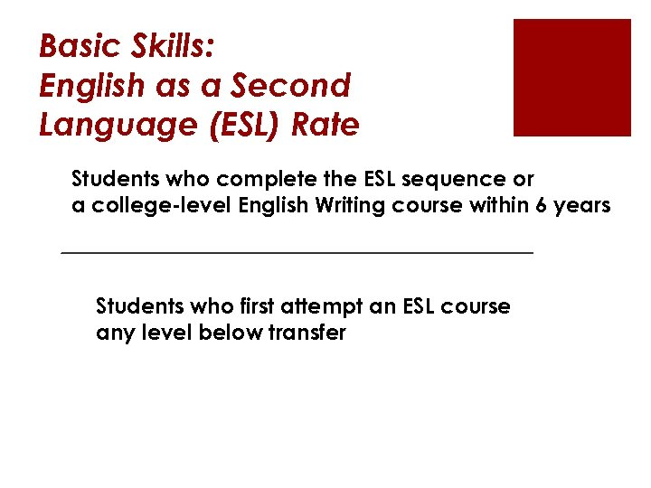 Basic Skills: English as a Second Language (ESL) Rate Students who complete the ESL