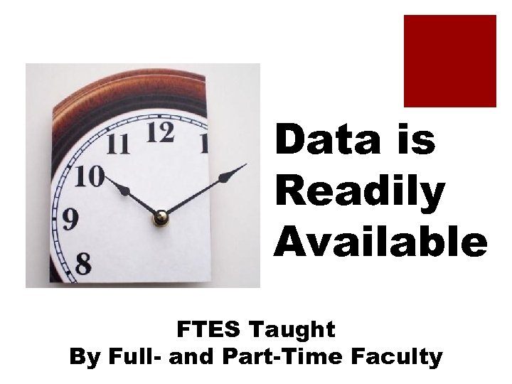 Data is Readily Available FTES Taught By Full- and Part-Time Faculty