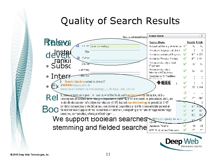Quality of Search Results Relevanceconnector retrieved data Thorough ranking of Instantly find relevant results