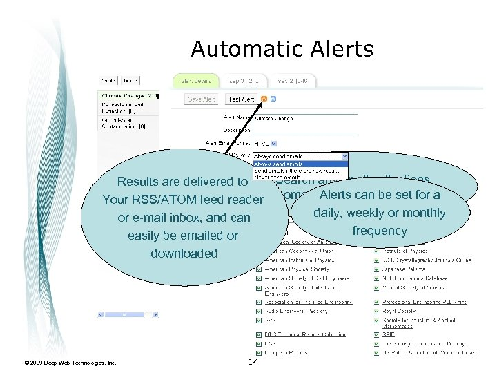 Automatic Alerts Search any or all collections Results are delivered to Alerts repeat queries.