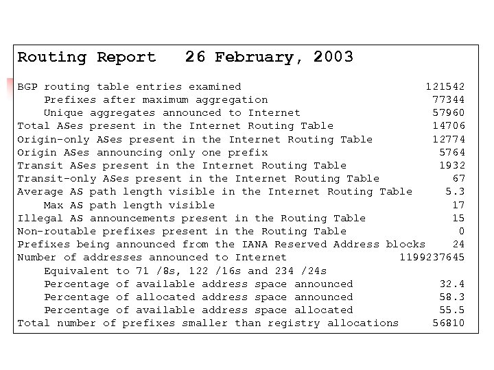 Routing Report 26 February, 2003 BGP routing table entries examined 121542 Prefixes after maximum