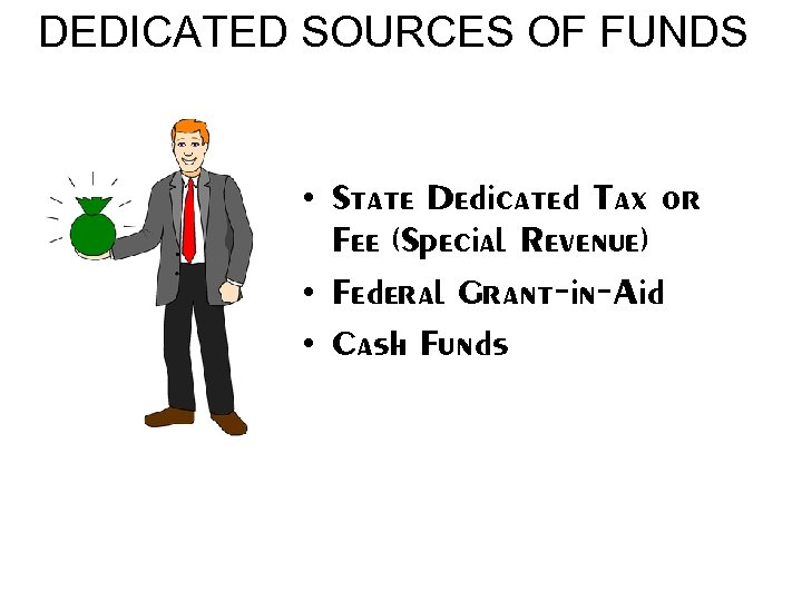 DEDICATED SOURCES OF FUNDS • State Dedicated Tax or Fee (Special Revenue) • Federal