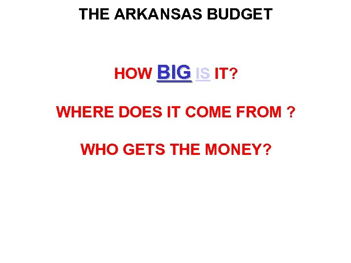 THE ARKANSAS BUDGET HOW BIG IS IT? WHERE DOES IT COME FROM ? WHO