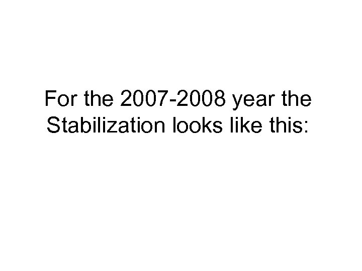 For the 2007 -2008 year the Stabilization looks like this: