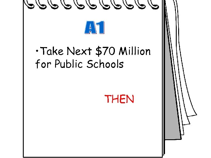 • Take Next $70 Million for Public Schools THEN