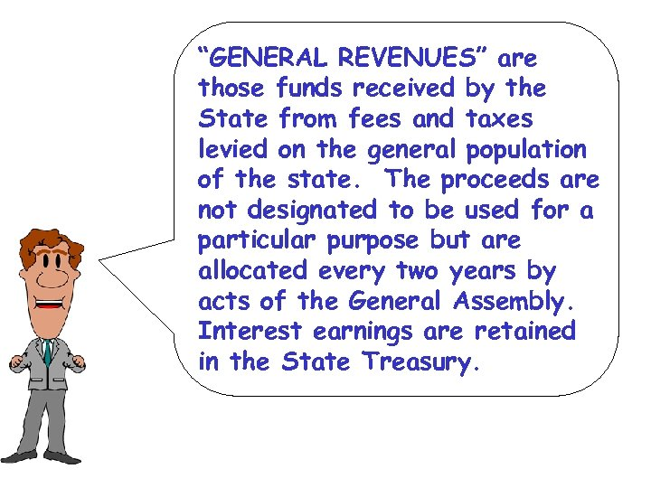 """GENERAL REVENUES"" are those funds received by the State from fees and taxes levied"