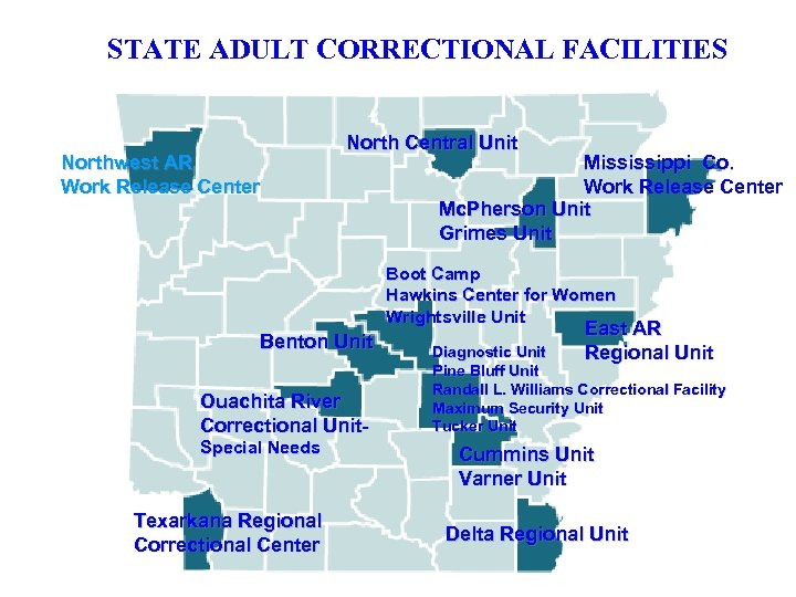 STATE ADULT CORRECTIONAL FACILITIES Northwest AR Work Release Center North Central Unit Mississippi Co.