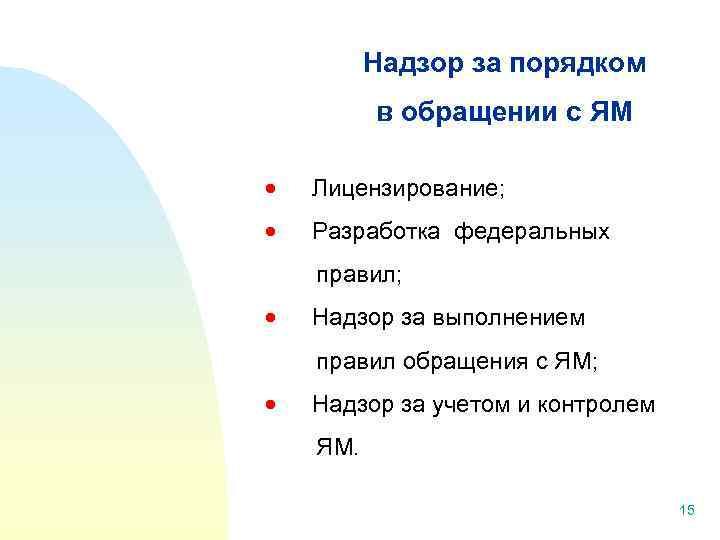 Надзор за порядком в обращении с ЯМ Лицензирование; Разработка федеральных правил; Надзор за выполнением