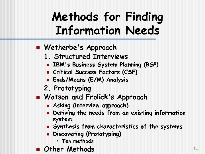 Methods for Finding Information Needs n Wetherbe's Approach 1. Structured Interviews n n IBM's