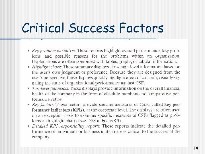 Critical Success Factors 14