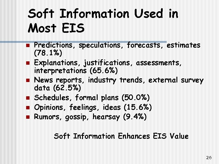 Soft Information Used in Most EIS n n n Predictions, speculations, forecasts, estimates (78.